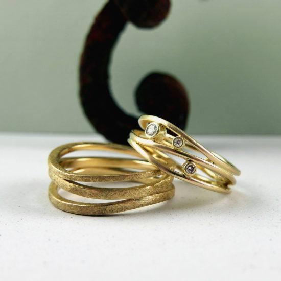 14 ct geel goud, 0.10 ct f-vvs diamant